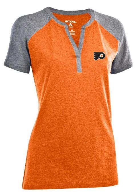 Philadelphia Flyers Womens Orange And Grey Antigua V Neck