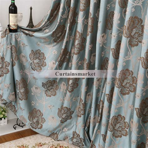 blue and brown curtains made of polyester fabric
