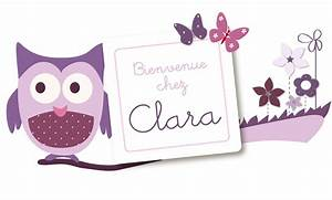 Sticker prénom fille à coller sur porte, mobilier ou mur et sa chouette amusante