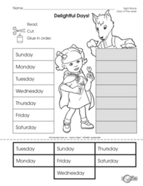 results  days   week worksheets guest  mailbox