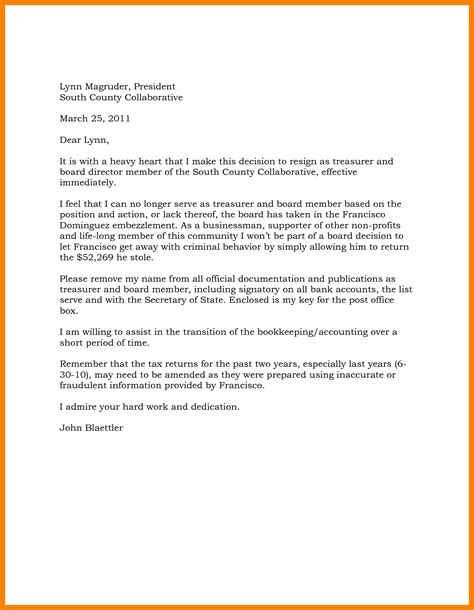 board resignation letter sample  profit