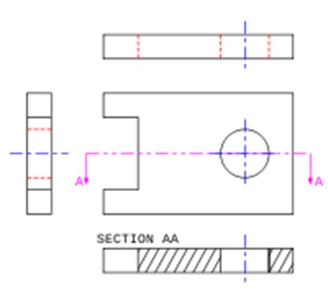 what conventions are associated with section lines engineering drawing