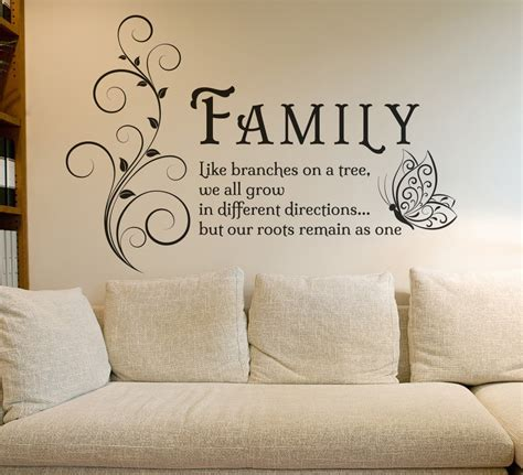 family  branches quotes butterfly vinyl wall art