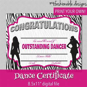 dance certificate print your own instant by With dance certificate templates free download