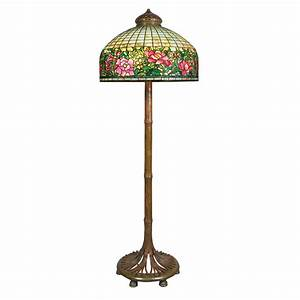 Tiffany studios bronze and leaded favrile glass peony for Tiffany bamboo floor lamp