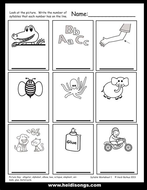 printable syllable worksheets kindergarten syllable