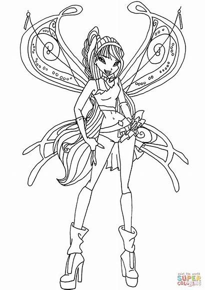 Musa Coloring Believix Pages Winx Club Drawing