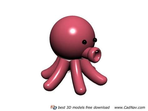 Cartoon soft toy octopus 3d model 3DMax files free