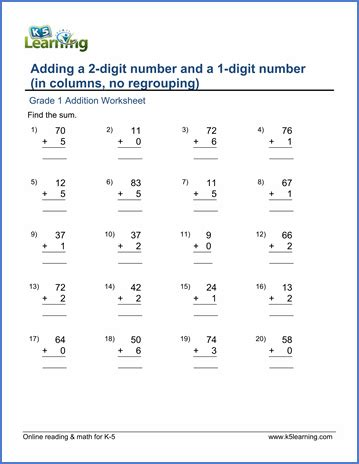 Add A 2digit Number And A 1digit Number (in Columns, No Regrouping)  K5 Learning