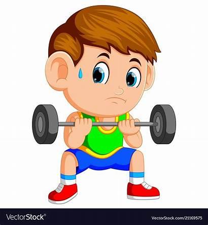 Lifting Weights Boy Vector Royalty