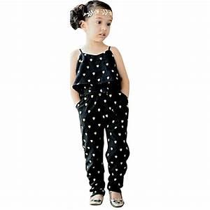 2PC Kids Girls Summer Clothes Jumpsuits+Belt Child Fashion ...