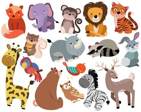 cute animals clip art set   hand drawn  dpi vector