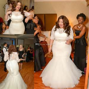 plus size vintage wedding dresses 2015 vintage plus size mermaid wedding dresses with half sleeve applique lace sash beaded