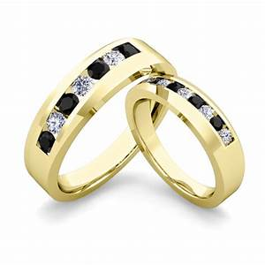 his and hers matching wedding band 14k gold black diamond ring With black gold wedding rings his and hers