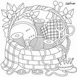 Coloring Sewing Patterns Printable Adults Embroidery Basket Drawing Adult Erwachsene Sheets Dessin Desenhos Adulte Crafts Colouring Dibujos Ausmalbilder Coloriage Apple sketch template