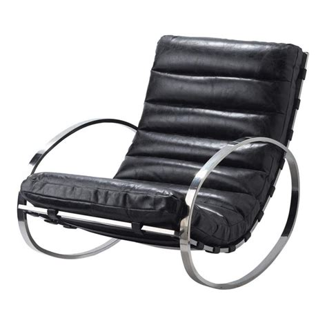 rocking chair black leather freud freud maisons du monde