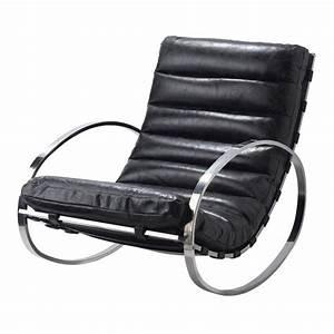 Fauteuil Cuir Noir : fauteuil bascule cuir noir freud maisons du monde ~ Melissatoandfro.com Idées de Décoration