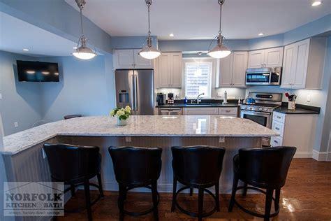 custom white kitchen  gray island