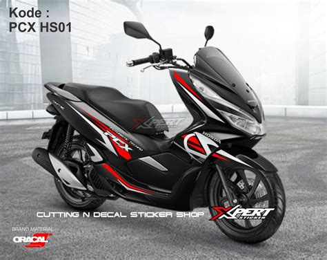 Pcx 2018 Hitam Modif by Jual Cutting Sticker Pcx Hitam Silver Stiker Pcx Striping