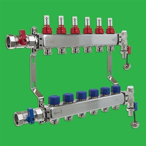 underfloor heating manifold reliance 6 port stainless steel ufh manifold six outlets valves