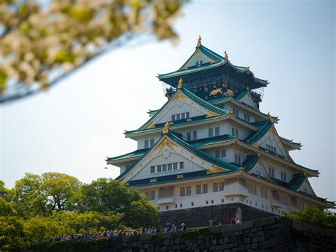 japan osaka castle tower architecture photo preview