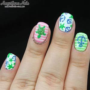 Green / Nautical / Sea Turtle Nail Art | Summer/Neon ...