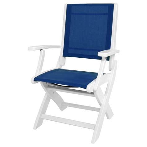 polywood white royal blue sling coastal patio folding