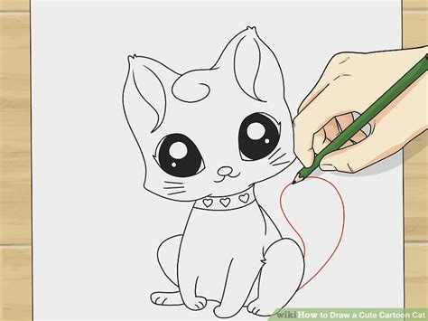 draw  cute cartoon cat  steps  pictures