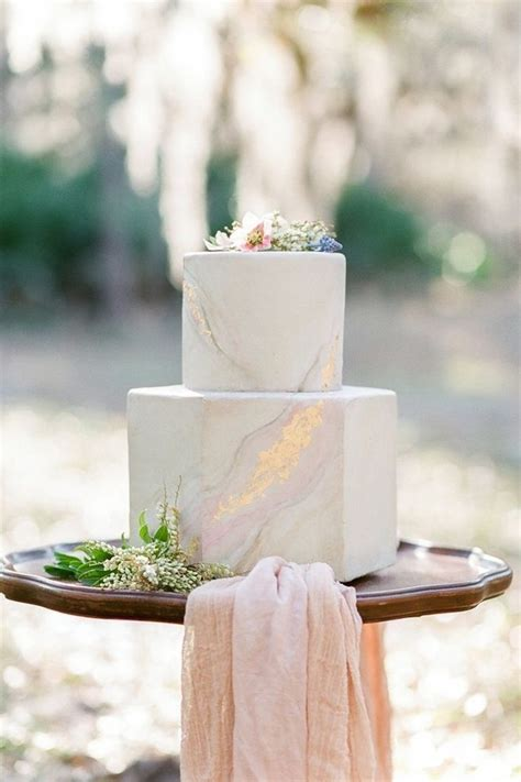 Two Tier Hexagonal Marble Wedding Cake With Shades Of