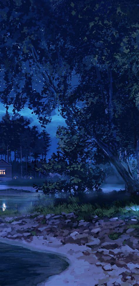 anime landscape lake night light