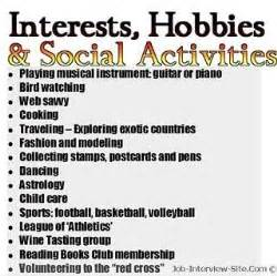 list of hobbies and interests resume hobbies in resumes how to list hobbies and interest on a resume