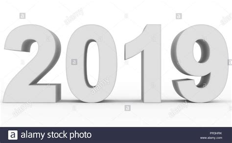 Year 2019 White 3d Numbers Isolated On White