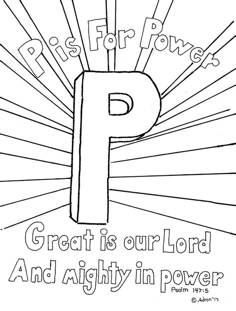 Coloring Pages For Kids By Mr Adron P Is For Power Psalm 1475 Print And Color Page, Free