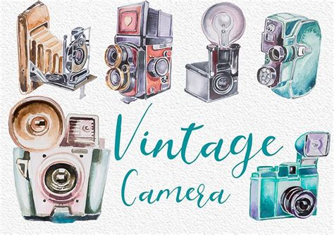 watercolor vintage camera clipart illustrations creative market
