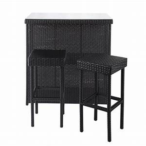 meuble de bar 2 tabourets de jardin en resine tressee With meubles de jardin en resine tressee