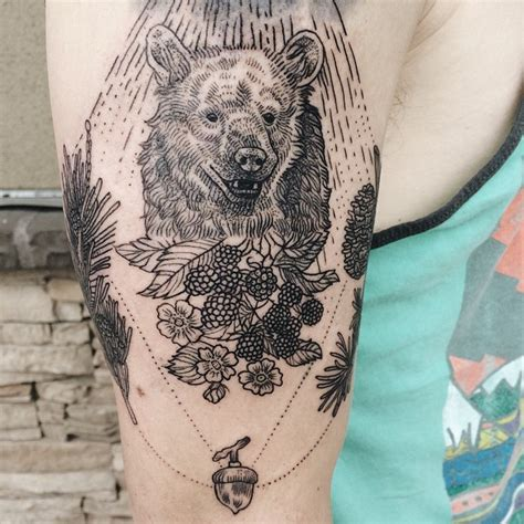 Nature Inspired Tattoos Combine Vintage Style Etchings