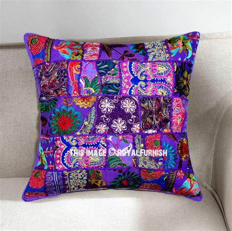 bohemian throw pillows purple decorative and bohemian accent unique patchwork