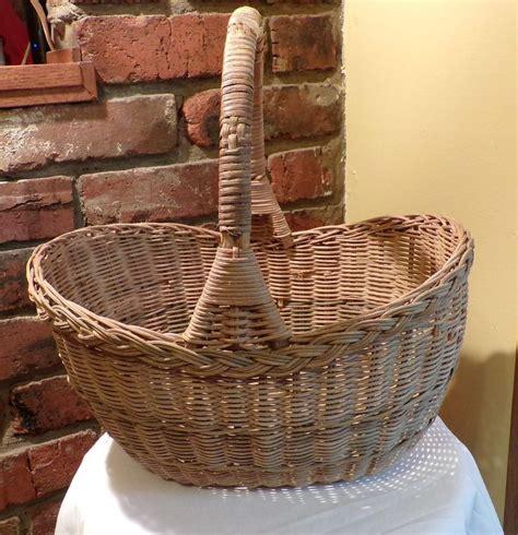 Tobacco basket wall pockets baskets on wall cool art sweet home. Rustic gathering basket, wicker handled basket, primitive basket, Oval Basket, French basket ...