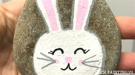 adorable bunny rock painting tutorial  beginners