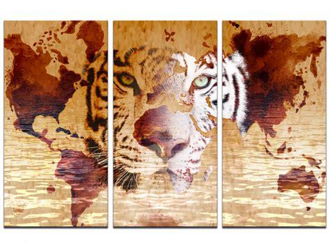 toile carte du monde cadre triptyque tigre et carte du monde sur toile imprim 233 e declina