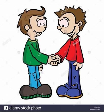 Cartoon Boys Shaking Hands Illustration Eps Alamy