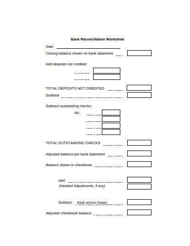 bank reconciliation worksheet samples   excel