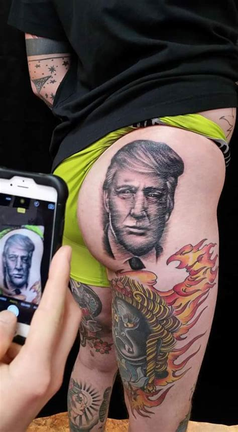 ass donald rump trump tattoo funny butt stuff getting again raven
