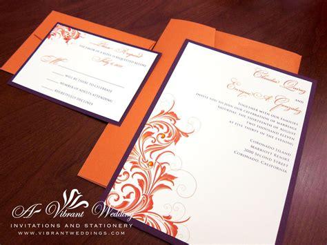 royal blue  orange wedding invitation blue orange