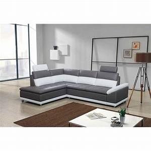 photos canape d39angle convertible gris et blanc pas cher With canapé d angle blanc pas cher