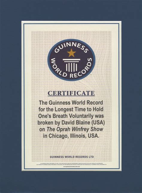 World Record Certificate Template by World Record David Blaine Guinness World Record