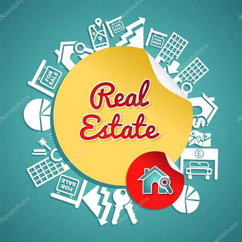 Real estate circle, vintage text house magnifying glass ...