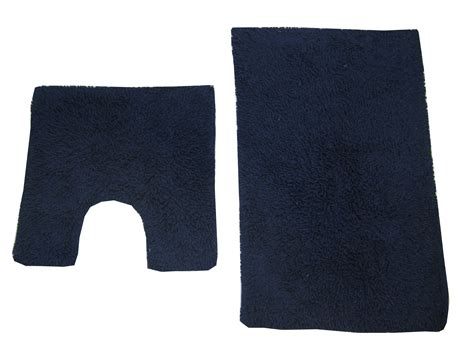 Blue Bathroom Mat Set Bath Mat Pedestal Rug Set Cotton Tumble Twist Navy Blue Ebay