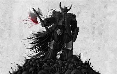 Viking Warrior Dark Wallpapers Fantasy Vikings Skull