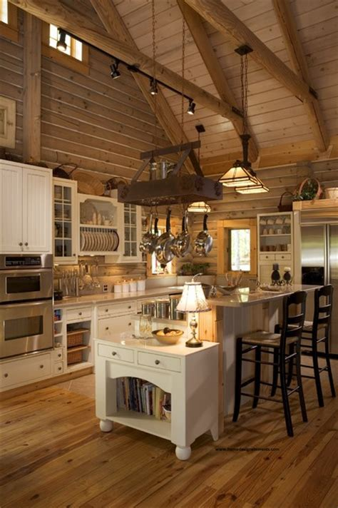 log home lavely traditional kitchen